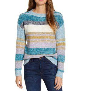 NWT CASLON Blue Stripe Fluffy Pullover Sweater XL